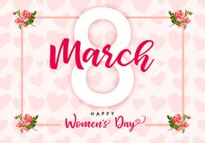 8 March Happy Womens day rose flower and hearts banner. Lettering for the International Women`s Day with text 8 March on roses and hearts in frame Royalty Free Stock Photography