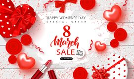 8 March Happy Womens Day sale banner. Beautiful Background with gift boxes in heart shape, roses,lipstick,bows and. Serpentine. Vector illustration for website Royalty Free Stock Photos