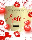 8 March Happy Womens Day sale banner. Beautiful Background with hearts, bow, lips prints and serpentine. Vector. Illustration for posters, coupons, promotional Royalty Free Stock Photo