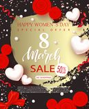 8 March Happy Womens Day sale banner. Beautiful Background with hearts, bow, roses and serpentine. Vector illustration. For posters, coupons, promotional Royalty Free Stock Photo