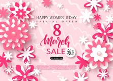 8 March Happy Womens Day sale banner. Beautiful Background with paper flowers. Vector illustration for website , posters. Email and newsletter designs, ads royalty free illustration