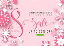 8 March Happy Womens Day sale banner. Beautiful Background with paper flowers. Vector illustration for website , posters. Email and newsletter designs, ads Royalty Free Stock Photography