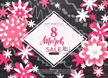 8 March Happy Womens Day sale banner. Beautiful Background with paper flowers. Vector illustration for website , posters. Email and newsletter designs, ads Stock Photography