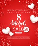 8 March Happy Womens Day sale banner. Beautiful Red Background with white hearts and serpentine. Vector illustration for. Posters, coupons, promotional material Stock Image