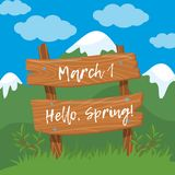March 1, Hello, spring. Wooden board sign on spring landscape background vector Illustration, cartoon style. March 1, Hello, spring. Wooden board sign on spring Stock Photos