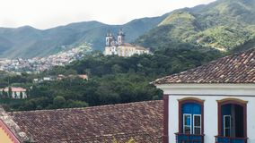 March 25, 2016, Historic city of Ouro preto, Minas Gerais, Brazil, colonial mansions, with church in the background. stock images
