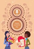 8 March Holiday Background Cute Girls Holding Gift Box And Bouquet Of Flowers Over Happy Women Day Greeting Poster. Flat Vector Illustration Stock Photos