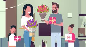 8 March Holiday Background Happy Family Congradulating Mother With Women Day Giving Presents And Flowers At Home. Flat Vector Illustration Royalty Free Stock Image