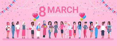 8 March Holiday Background With Happy Group Of Mix Race Woman And Decoration Horizontal Banner. Flat Vector Illustration Stock Image