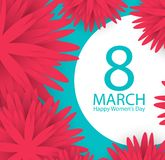 8 March holiday background with paper cut Frame Flowers. Happy M. Other`s Day. Trendy Design Template. Vector illustration royalty free illustration