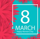 8 March holiday background with paper cut Frame Flowers. Happy M. Other`s Day. Trendy Design Template. Vector illustration stock illustration