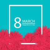 8 March holiday background with paper cut Frame Flowers. Happy Mother`s Day. Trendy Design Template. Vector illustration. Stock Photos