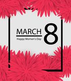 8 March holiday background with paper cut Frame Flowers. Happy Mother`s Day. Trendy Design Template. Vector illustration. 8 March holiday background with paper Stock Image