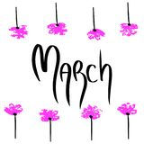 March. Holiday illustration with black word on white background. Calligraphy spring style with pink flowers frame vector illustration