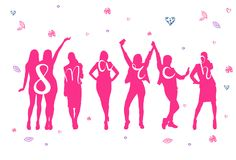 8 March Holiday Poster With Pink Cheerful Women Silhouette Happy Womens Day Concept. Vector Illustration Stock Images