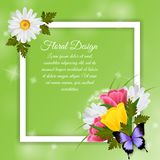 8 March Realistic Frame. 8 march holiday realistic frame with colorful floral design and text field on green background vector illustration Stock Photography