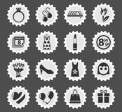 8 march icon set. 8 march web icons stylized postage stamp for user interface design vector illustration