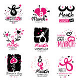 March 8 illustration and logo. Royalty Free Stock Images