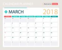 MARCH 2018, illustration vector calendar or desk planner, weeks start on Sunday Royalty Free Stock Image
