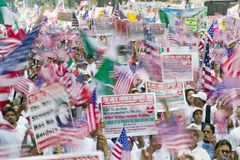 March for Immigrants and Mexicans Royalty Free Stock Image