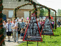 The March of Immortal regiment in the Kaluga region Russia on 9 may 2016. Royalty Free Stock Photo