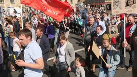 March of Immortal Regiment, timed to 71st anniversary of the Victory in the great Patriotic war. stock video