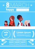 8 March Infographic Banner Template Elements For International Women Day With Different Ladies On Background With Copy. Space Flat Vector Illustration vector illustration