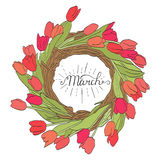 March inscription. Beautiful colorful bouquet of tulips. Tulip isolated on white background. Greeting card with calligraphy. Hand. March inscription. Greeting Stock Photo