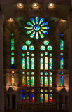 6 MARCH 2017. Interior view of la Sagrada Familia cathedral in B Royalty Free Stock Photo