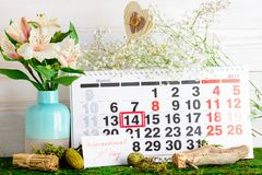 March 14, international day of Pi on calendar. Symbol royalty free stock photo