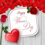 8 March. International happy women`s day greeting card. Flower roses. Red heart. White paper space for text. Red petal. Wood backg. Illustration of 8 March Stock Images
