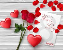 8 March. International happy women`s day greeting card. Flower roses. Red hearts. White paper space for text. Red petal. Wood back. Illustration of 8 March Royalty Free Stock Photos