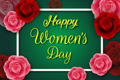 8 March. International happy women`s day. Paper cut flower background with square frame and space for text. Illustration of 8 March. International happy women`s stock illustration