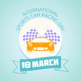 18 March International Sports Car Racing Day. Calendar for each day on March 18. Greeting card. Holiday - International Sports Car Racing Day. Icon in the linear Royalty Free Illustration
