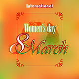 8 March International Woman's day background with Earth globe in rear. An artistic, ornamental border frame the  main scene;Seasoned coloring on backdrop Stock Photography