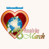 8 March  International Woman's day background with heart filled by arabesques Royalty Free Stock Images