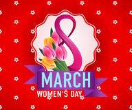 8 March international woman's day greeting card template. 8 March international woman's day greeting card decorated with flowers template Royalty Free Stock Photo