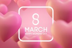 8 March International Womans day, Love heart background. love backgriund design. 8 March International Womans day vector illustration. Pink postcard stock illustration