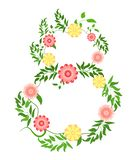 March 8. International Women Day. Bright colorful spring flowers. Floral wreath on white background Vector illustration stock illustration