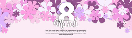 8 March International Women Day Greeting Card Banner. Flat Vector Illustration royalty free illustration