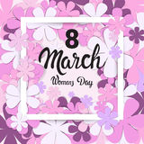 8 March International Women Day Greeting Card. Flat Vector Illustration Stock Image