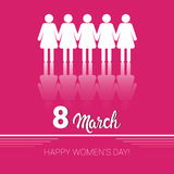 8 March International Women Day Greeting Card. Flat Vector Illustration Stock Images