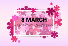8 March International Women Day Greeting Card. Flat Vector Illustration Royalty Free Stock Images