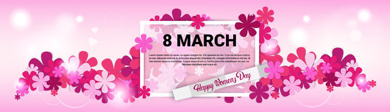 8 March International Women Day Greeting Card. Flat Vector Illustration Stock Photography