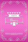 8 March International Women Day Greeting Card. Flat Vector Illustration Royalty Free Illustration