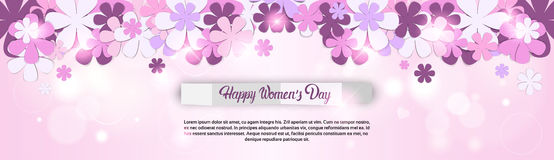 8 March International Women Day Greeting Card. Flat Vector Illustration Stock Photo