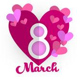 March International Women Day Greeting Card With Heart Shape Vector Illustration Stock Photos