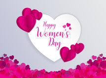 8 March International Women Day Greeting Card. With Heart Shape Vector Illustration Royalty Free Stock Photo