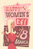 8 March International Women Day Greeting Card Retro Poster stock illustration