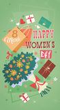 8 March International Women Day Greeting Card Retro Poster Royalty Free Stock Images
